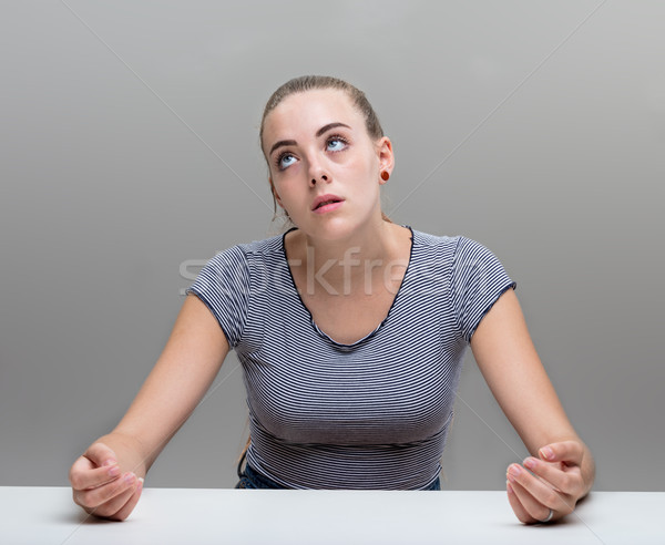 stressed woman portrait on gray Stock photo © Giulio_Fornasar