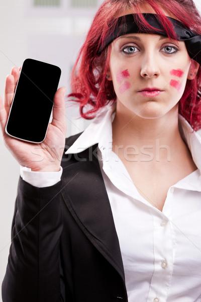 Oficina guerrero teléfono móvil nina mujer tecnología Foto stock © Giulio_Fornasar
