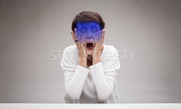 woman making the scream icon face Stock photo © Giulio_Fornasar