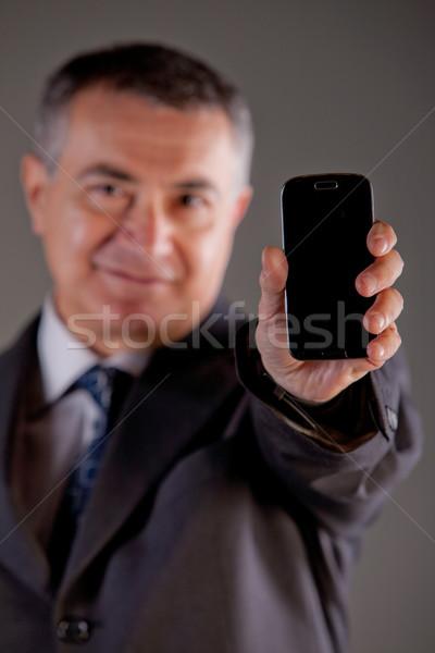 Foto stock: Especialista · gerente · meu · telefone · móvel · senior