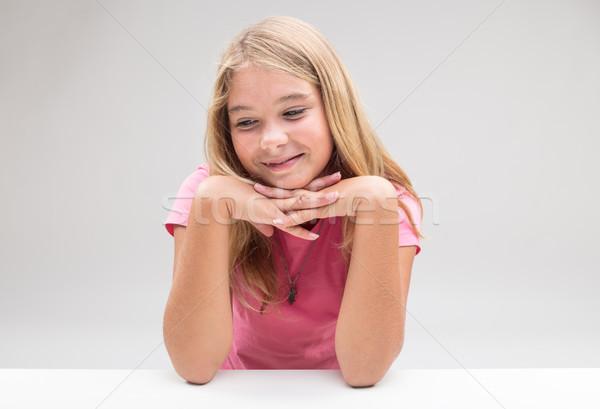 робкий девушки мышления положительный что-то Сток-фото © Giulio_Fornasar