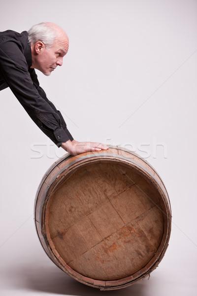 Сток-фото: человека · большой · баррель · подлинный · вино · пить
