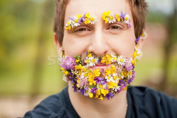 Szczęśliwy człowiek kwiat broda Zdjęcia stock © Giulio_Fornasar