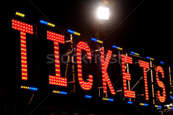 Billets enseigne au néon nuit classique électriques signe Photo stock © Giulio_Fornasar