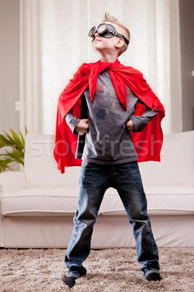 Stockfoto: Rood · mantel · kid · woonkamer · weinig
