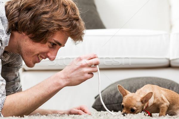 Jonge man spelen klein hond aanbieden lengte Stockfoto © Giulio_Fornasar