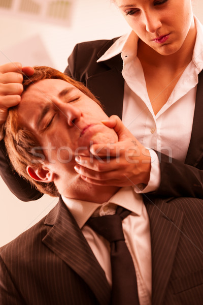 woman abusing a man in the workplace Stock photo © Giulio_Fornasar