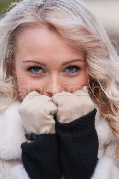 intense look of a woman in winter Stock photo © Giulio_Fornasar