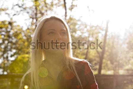 backlight blonde woman in the park Stock photo © Giulio_Fornasar