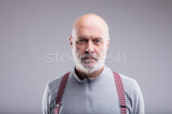 Portret poważny stary łysy zamyślony pasek Zdjęcia stock © Giulio_Fornasar