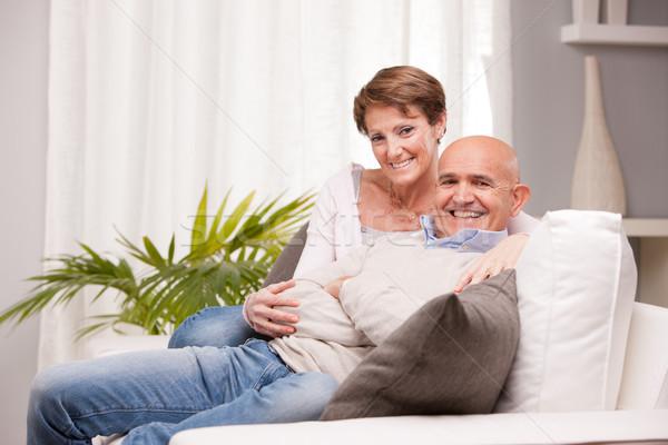 öreg férj feleség szerető boldogan öregasszony Stock fotó © Giulio_Fornasar