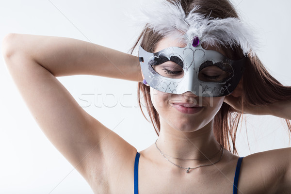 girl wearing a mask ready for the party Stock photo © Giulio_Fornasar
