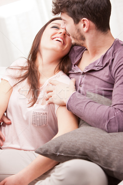 couple of happy lovers smiling eachother Stock photo © Giulio_Fornasar