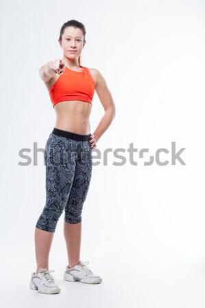 Uśmiechnięty siłowni kobieta butelki szczęśliwy uśmiechnięta kobieta Zdjęcia stock © Giulio_Fornasar