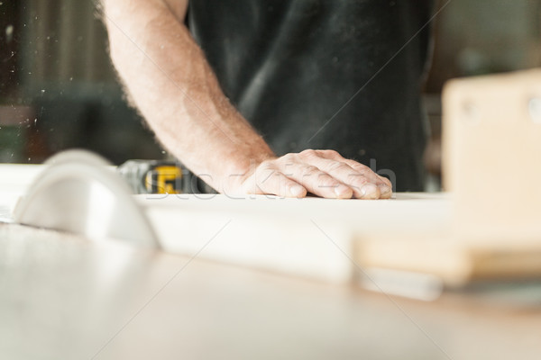 hand of a carpenter using a miter saw Stock photo © Giulio_Fornasar
