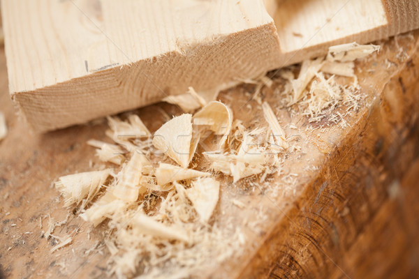 close up detail of shavings in woodmaker shop Stock photo © Giulio_Fornasar