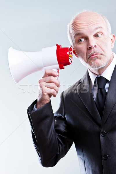 man using a megaphone with ears instead of mouth Stock photo © Giulio_Fornasar