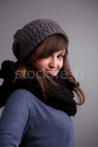winter dressed pretty woman smiling Stock photo © Giulio_Fornasar