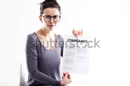 Teleurgesteld vrouw bril meisje teken Stockfoto © Giulio_Fornasar