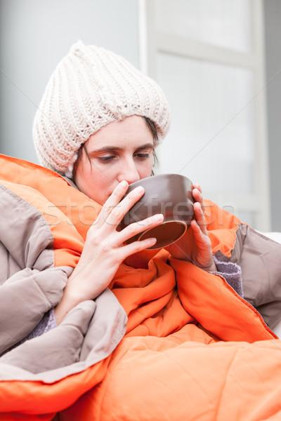 Beteg nő iszik forró húsleves vicces Stock fotó © Giulio_Fornasar