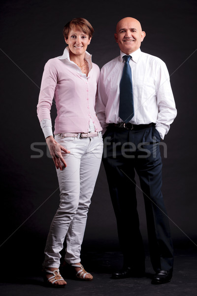 Stock photo: old woman and old man happy together