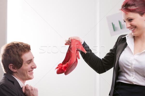 Iş adamı kırmızı yüksek topuklu ayakkabı mutlu ofis Stok fotoğraf © Giulio_Fornasar