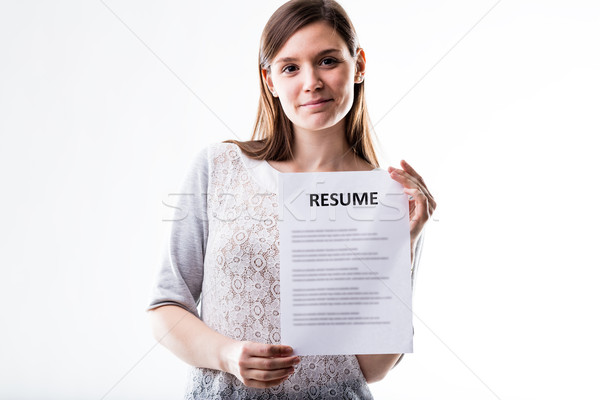 young woman showing her curriculum vitae Stock photo © Giulio_Fornasar
