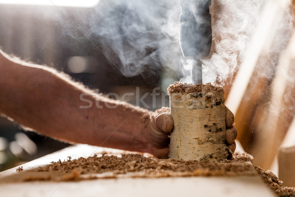 woodworker holding and drilling a log Stock photo © Giulio_Fornasar
