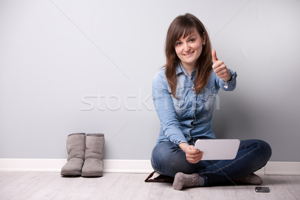 ordinary successful girl showing off fingers Stock photo © Giulio_Fornasar