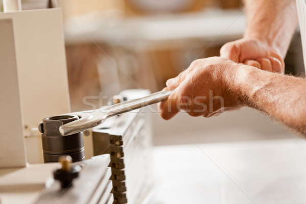 robust hands fastening with a wrench Stock photo © Giulio_Fornasar