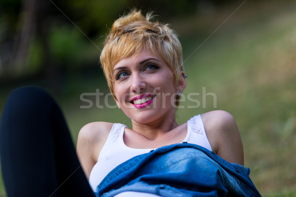blonde woman thinking outdoors portrait Stock photo © Giulio_Fornasar