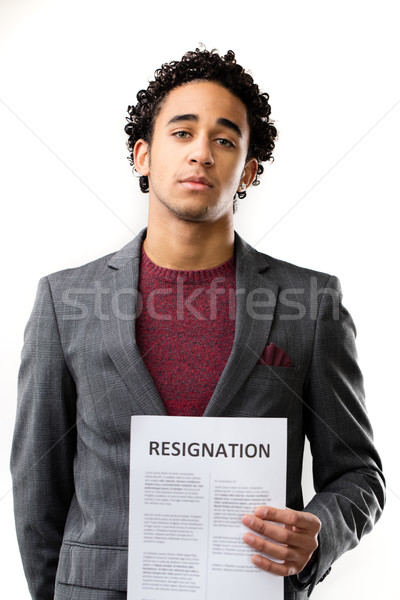 resignation sheet in young man's hand Stock photo © Giulio_Fornasar