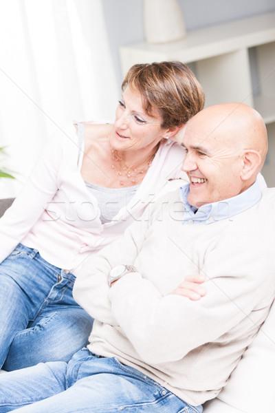 Boldog pár megnyugtató tv nézés együtt lezser Stock fotó © Giulio_Fornasar