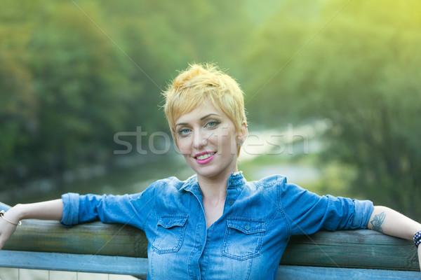 woman on a bridge in the mountains Stock photo © Giulio_Fornasar