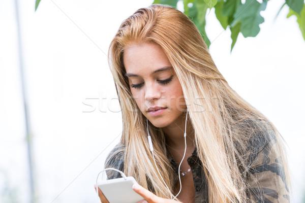девушки мобильного телефона мобильных улиц жизни улице Сток-фото © Giulio_Fornasar