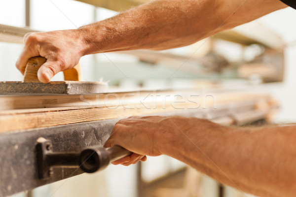 wood smoothing with belt sander Stock photo © Giulio_Fornasar