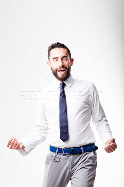 Başarı mutlu adam gömlek mavi Stok fotoğraf © Giulio_Fornasar