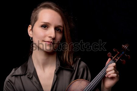 young woman violinist portrait on black Stock photo © Giulio_Fornasar