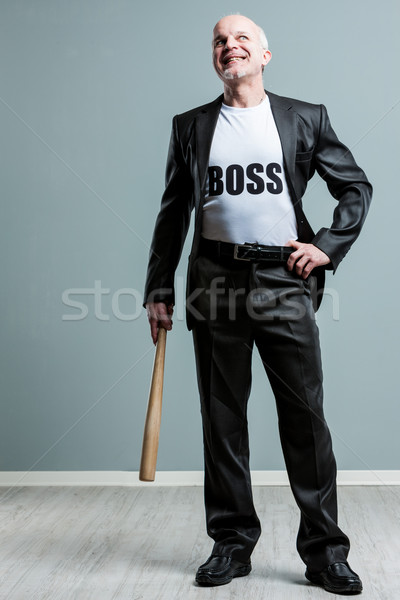 Happy mature boss man with bat Stock photo © Giulio_Fornasar