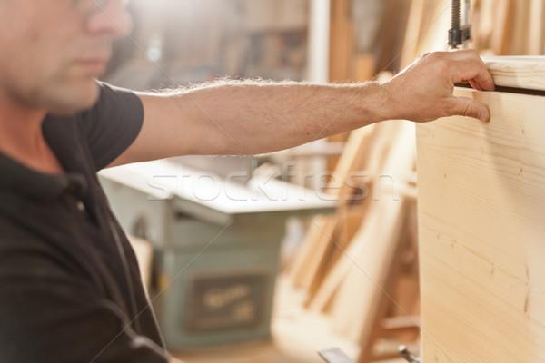 carpenter placing a wooden flap Stock photo © Giulio_Fornasar