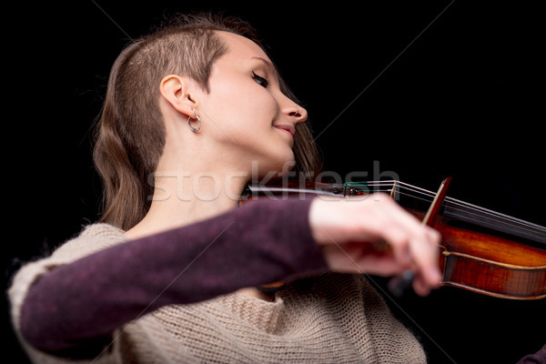 punk folk violinist woman smiling and playing Stock photo © Giulio_Fornasar