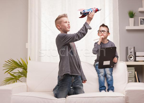 Weinig ruimte raket wetenschappers twee jongens Stockfoto © Giulio_Fornasar