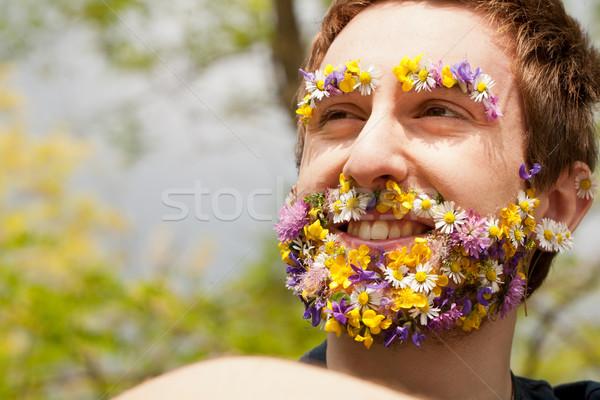 flower hipster ecofriendly man smiling Stock photo © Giulio_Fornasar