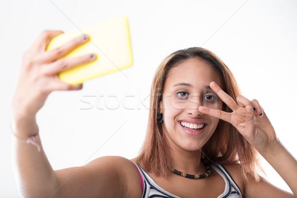 телефон девушки возлюбленный смартфон Сток-фото © Giulio_Fornasar