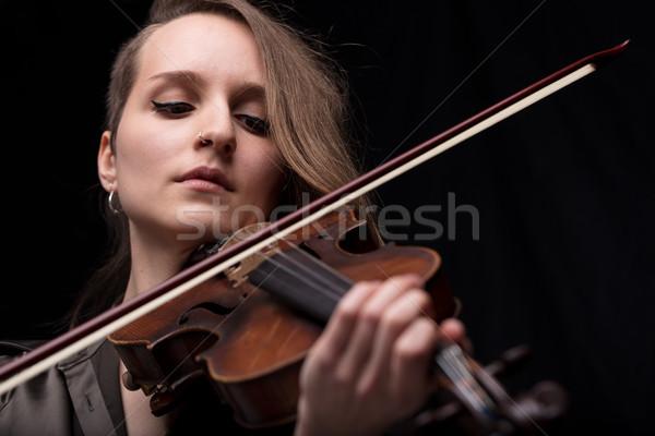 страстный скрипки музыканта играет черный серьезный Сток-фото © Giulio_Fornasar