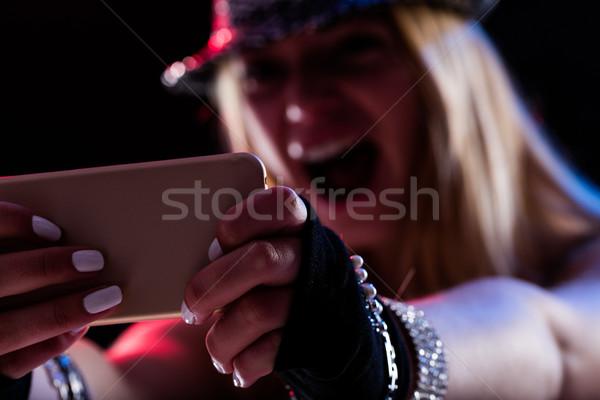 Kız müzik çevrimiçi kadın mükemmel Stok fotoğraf © Giulio_Fornasar