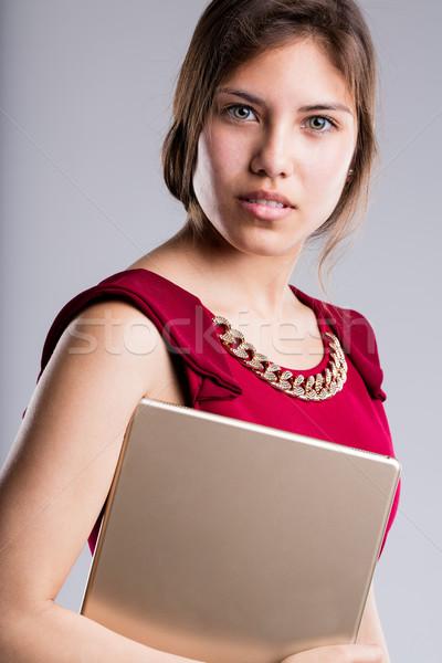美しい 目 ビジネス女性 肖像 タブレット ストックフォト © Giulio_Fornasar