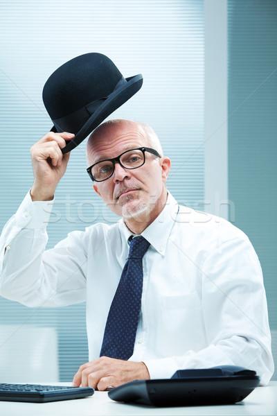 элегантный английский бизнесмен квадратный очки приветствие Сток-фото © Giulio_Fornasar