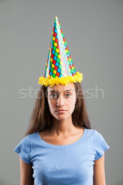Nő néz szomorúság visel buli kalap Stock fotó © Giulio_Fornasar
