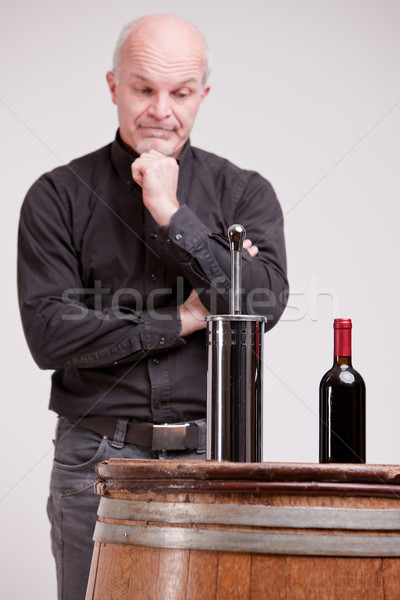 doubtful man about wine quality controls Stock photo © Giulio_Fornasar